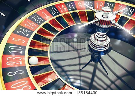 3D Rendering of a roulette with ball