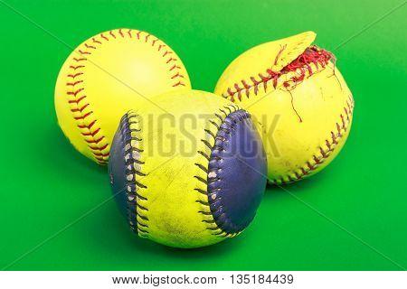 Closeup of a Softball ball for match