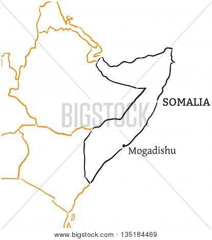 Somalia country with its capital Mogadishu in Africa hand-drawn sketch map isolated on white