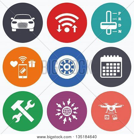 Wifi, mobile payments and drones icons. Transport icons. Car tachometer and automatic transmission symbols. Repair service tool with wheel sign. Calendar symbol.