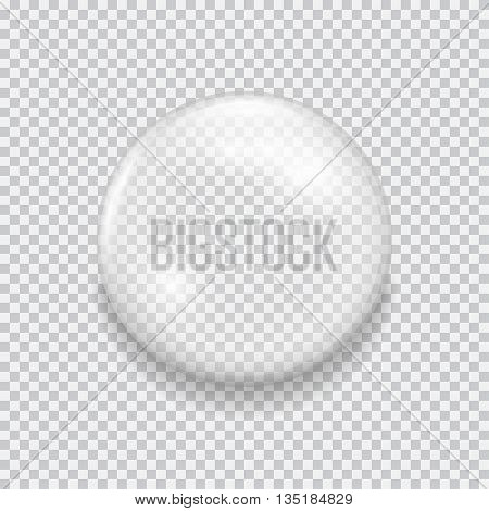 Transparent glass sphere with glares and highlights. White pearl, water soap bubble, shiny glossy orb. Vector illustration with transparencies, gradient and effects