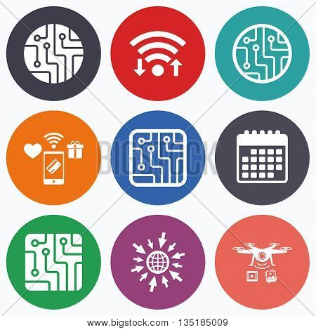Wifi, mobile payments and drones icons. Circuit board icons. Technology scheme circles and squares sign symbols. Calendar symbol.