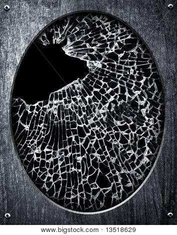 cracked mirror with metal frame