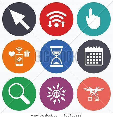 Wifi, mobile payments and drones icons. Mouse cursor and hand pointer icons. Hourglass and magnifier glass navigation sign symbols. Calendar symbol.