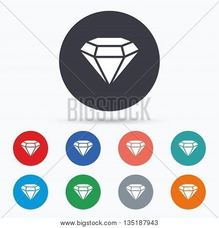 Diamond sign icon. Jewelry symbol. Gem stone. Flat diamond icon. Simple design diamond symbol. Diamond graphic element. Circle buttons with diamond icon. Vector