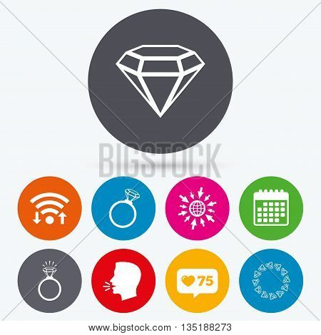 Wifi, like counter and calendar icons. Rings icons. Jewelry with shine diamond signs. Wedding or engagement symbols. Human talk, go to web.