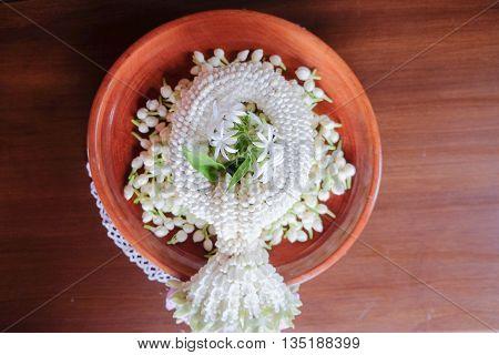 Jasmine garland/ white jasmine garland. Thai garlands called