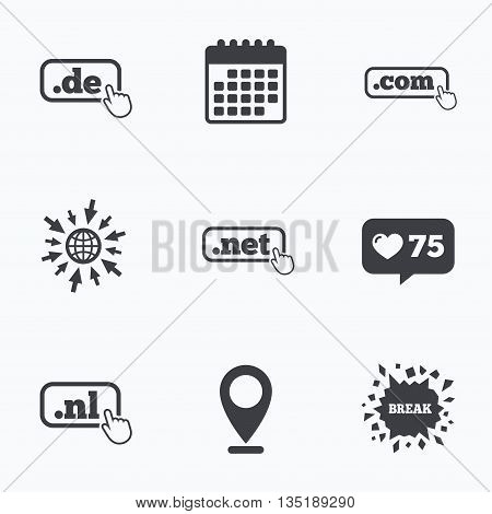 Calendar, like counter and go to web icons. Top-level internet domain icons. De, Com, Net and Nl symbols with hand pointer. Unique national DNS names. Location pointer.