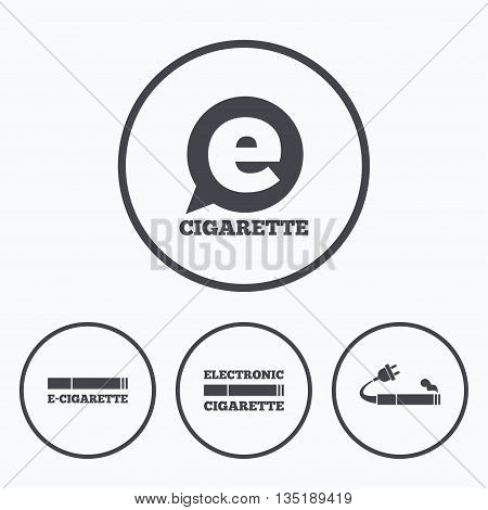 E-Cigarette with plug icons. Electronic smoking symbols. Speech bubble sign. Icons in circles.
