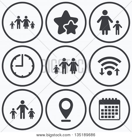 Clock, wifi and stars icons. Family with two children icon. Parents and kids symbols. One-parent family signs. Mother and father divorce. Calendar symbol.