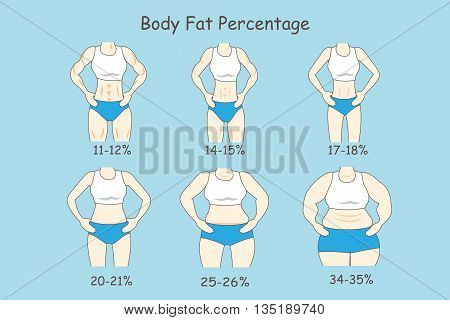 Cartoon woman represent body fat percentage great for health care concept