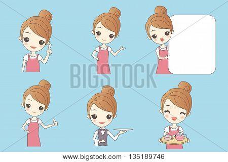 Cartoon beautiful young woman is a waitress