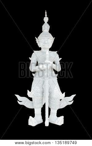 Thai white giant statue isolated on black background
