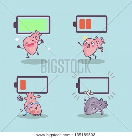 cute cartoon heart with battery great for Health concept design