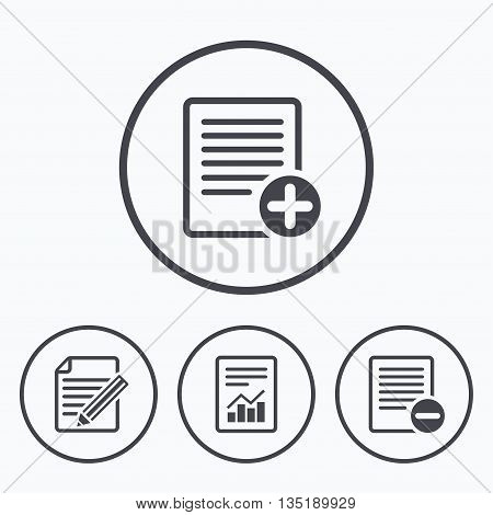 File document icons. Document with chart or graph symbol. Edit content with pencil sign. Add file. Icons in circles.