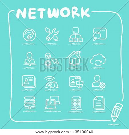 Network icon set - doodle Series great for your design