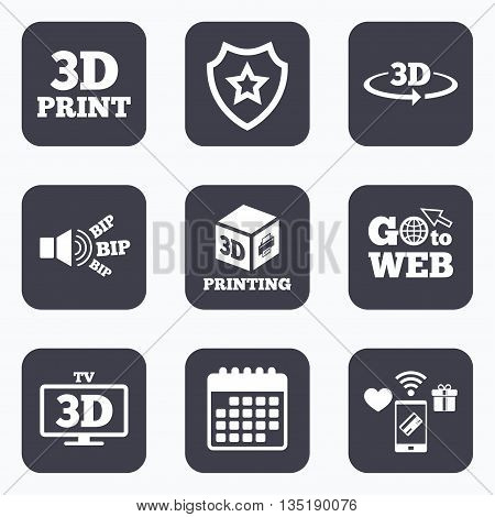 Mobile payments, wifi and calendar icons. 3d technology icons. Printer, rotation arrow sign symbols. Print cube. Go to web symbol.
