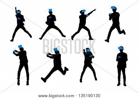 Silhouette of happy man play game and getting experience using VR-headset glasses of virtual reality full length