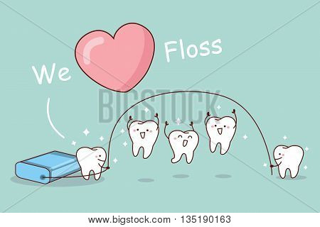 We love floss - cartoon tooth with floss great for dental care concept