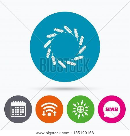 Wifi, Sms and calendar icons. Agricultural sign icon. Wreath of Wheat corn. Gluten free or No gluten symbol. Go to web globe.
