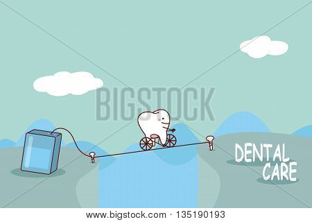 cartoon tooth with floss great for dental care concept