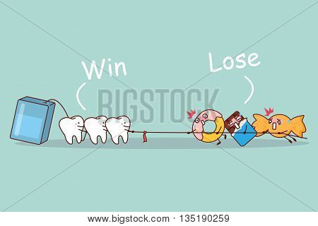 cartoon tooth and floss linear tug of war with sweet food great for dental care concept