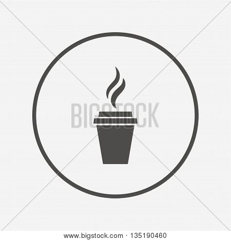 Coffee glass sign icon. Hot coffee button. Flat coffee icon. Simple design coffee symbol. Coffee graphic element. Round button with flat coffee icon. Vector