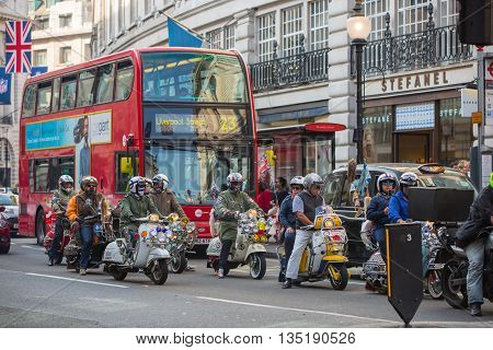 LONDON, UK - OCTOBER 4, 2016: Regent street view with transport and motorbikes