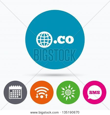 Wifi, Sms and calendar icons. Domain CO sign icon. Top-level internet domain symbol with globe. Go to web globe.