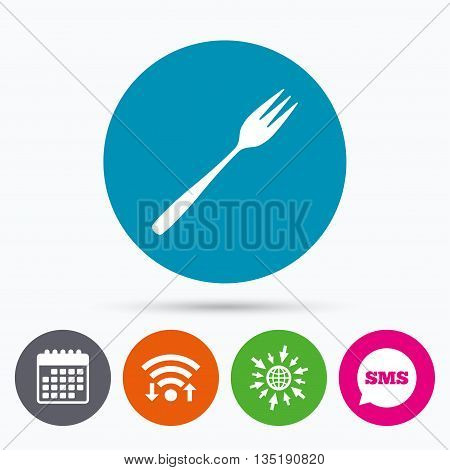 Wifi, Sms and calendar icons. Eat sign icon. Cutlery symbol. Diagonal dessert trident fork. Go to web globe.