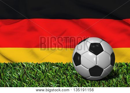 Soccer Ball On Grass With Germany Flag Background, 3D Rendering
