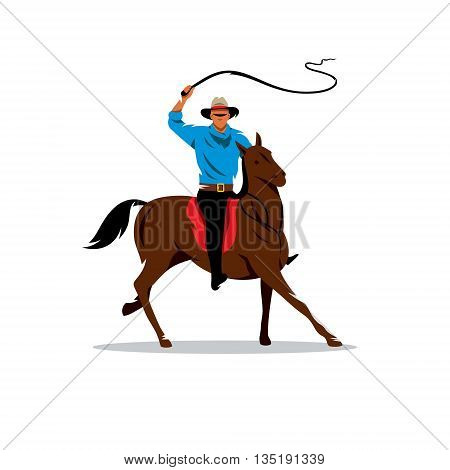 Horse Rider waving his whip. Isolated on a white background