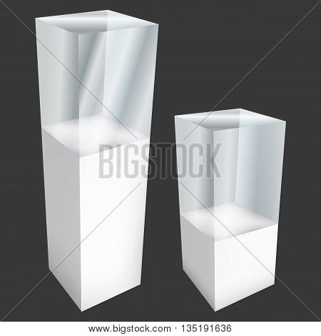 Empty glass showcase for exhibit. 3D Vector illustration on black background. Trade show booth white and blank pedestal with glass box for expo design.