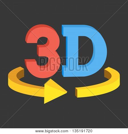 3D rotate button sign icon in red and blue color on black background. Yellow horisontal rotation arrow. Vector illustration.