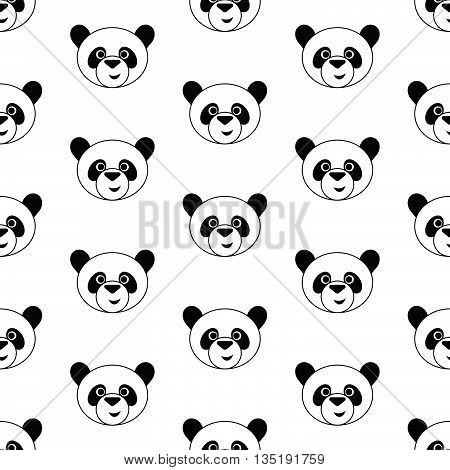 Cute panda, Seamless vector illustration with funny panda's faces