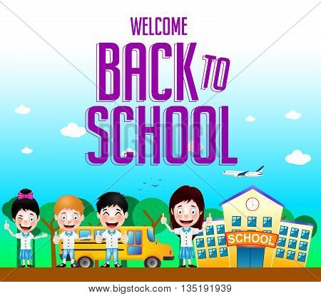 Welcome Back to School Text with School Building and School Bus with Happy Kids Characters. Vector Illustration