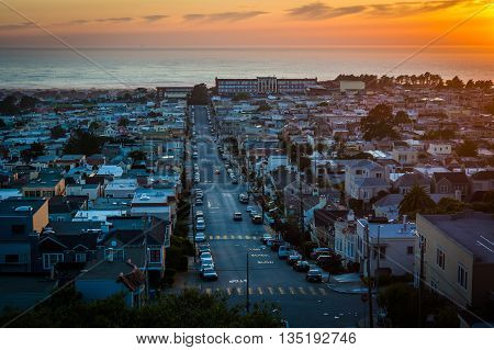 Sunset Over The Sunset District From Hawk Hill Park, In San Francisco,  California.