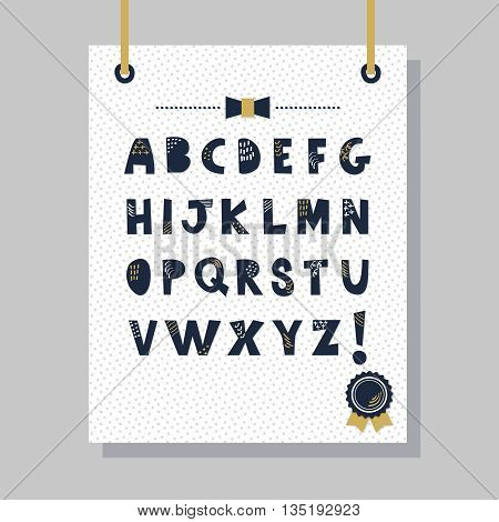 Cute navy blue doodle texture capital letters set on hanging white paper and gray background wall