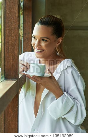 Sexy White Shirt Window, Looking, Out Coffee Tea Cup View Beautiful Pondering Contemplation