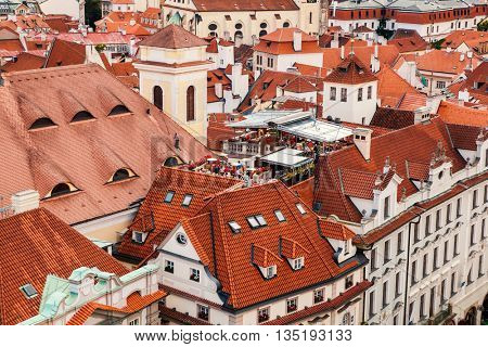 Houses with traditional red roofs