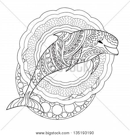 Hand drawn decorated isolated dolphin with mandalas on the white background. Image for adult and children coloring book engraving etching embroidery decorate t-shorts tunics tattoo. eps 10