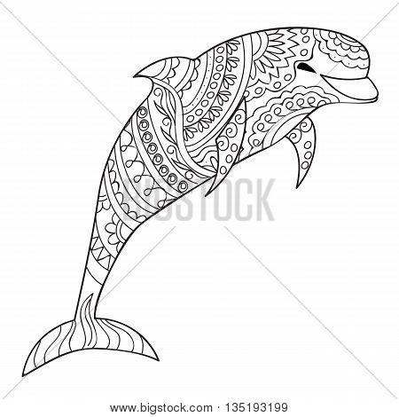 Hand drawn decorated isolated dolphin on the white background. Image for adult and children coloring book engraving etching embroidery decorate t-shorts tunics tattoo. eps 10
