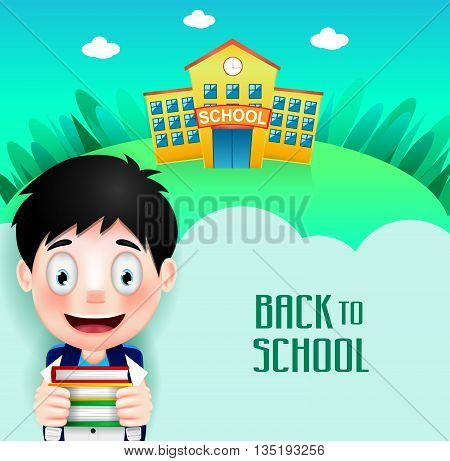 School Building with Cute Little Kid Character Going Back to School Holding Books. Vector Illustration