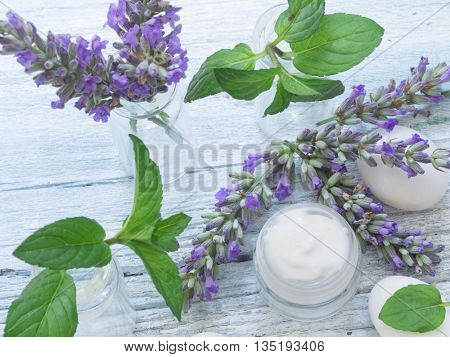 natural cosmetics with herbs