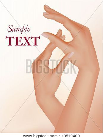 Beautiful woman hands with french manicure. Vector illustration.
