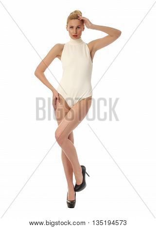 Portrait Of Slim Sexy Girl In Bodysuit Posing Isolated