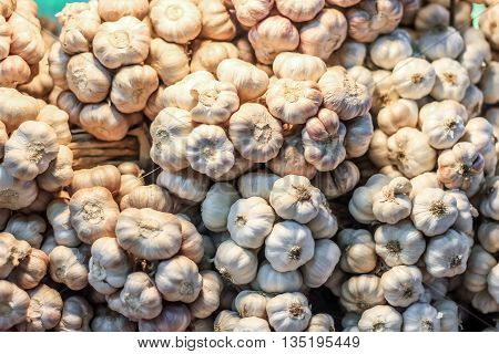 Plenty of garlic at the market for sell