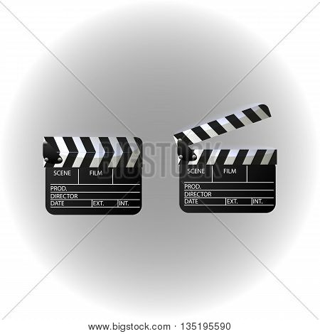 Movie clapper board set. Isolated movie clapper with text. Vector illustration.