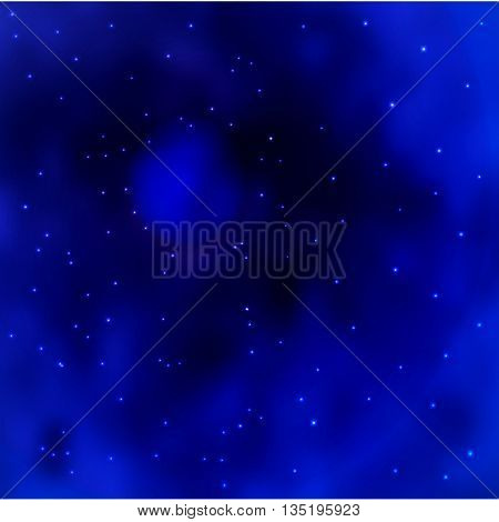 Space galaxy background. Blue space galaxy with stardust and bright shining stars. Starry space on the blue background.
