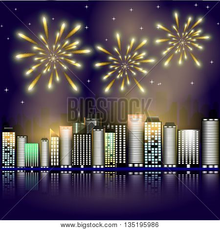 Firework in the city.Firework in the night sky in the town. Stars in the night sky lighting with firework. Abstract background with buildings, firework, stars. Victory symbol.
